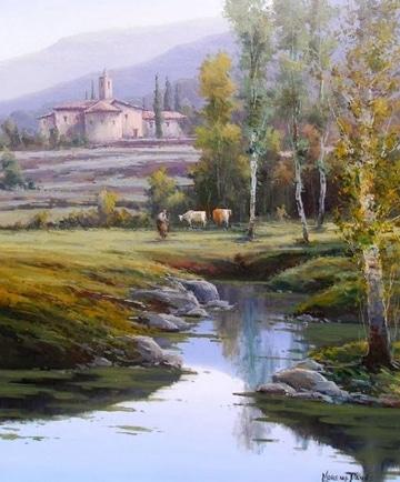 cuadros de paisajes al oleo con rios