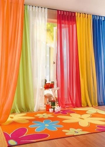 cortinas para dormitorio de niña multicolores