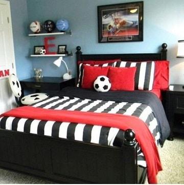 cuartos decorados de futbol parejas jovenes