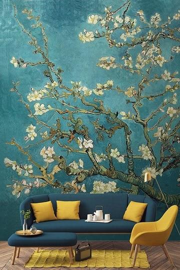 flores pintadas en la pared a mano