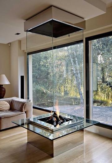 salones modernos con chimenea diseños