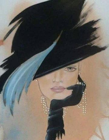 cuadros de mujeres con sombrero al oleo