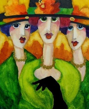 cuadros de mujeres con sombrero ideas