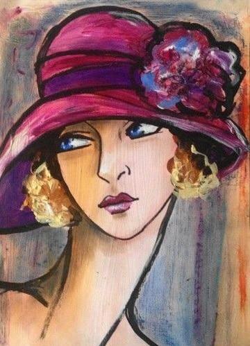 cuadros de mujeres con sombrero moderna