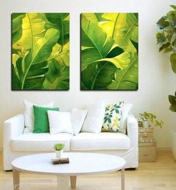 decoracion de cuadros para salas verde