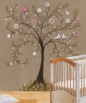 dibujos de arboles en la pared en habitaciones bebes