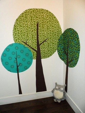 dibujos de arboles en la pared esquina