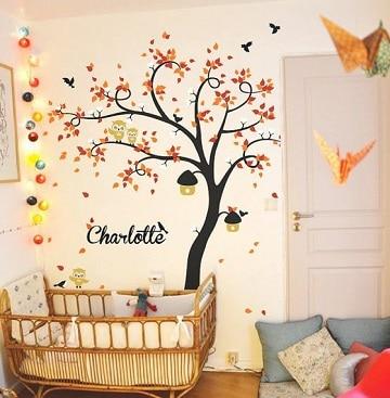 dibujos de arboles en la pared niña
