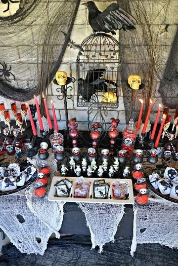 mesas decoradas para halloween espeluznantes