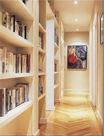 muebles para pasillos estrechos con libros