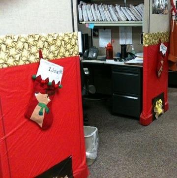 oficinas decoradas de navidad diseños