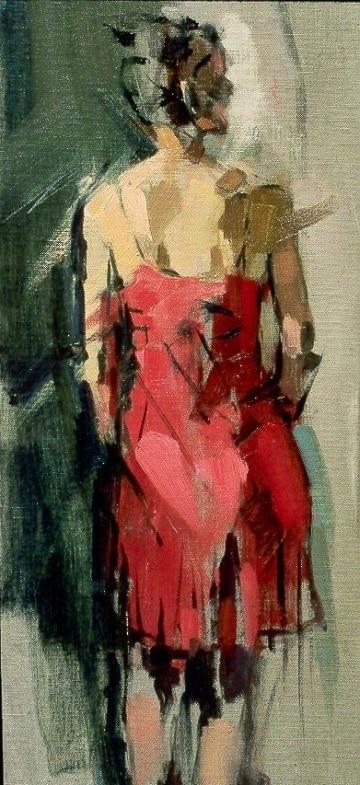 oleos de mujeres de espalda abstracto