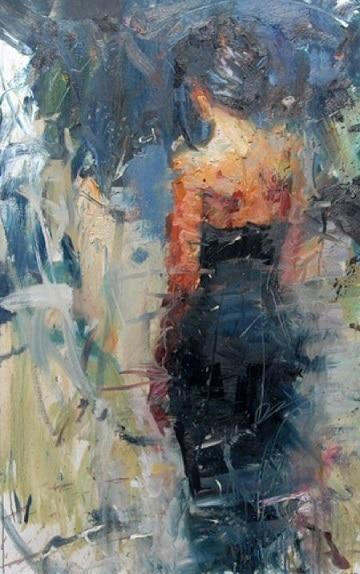 pinturas abstractas al oleo mujer de espaldas