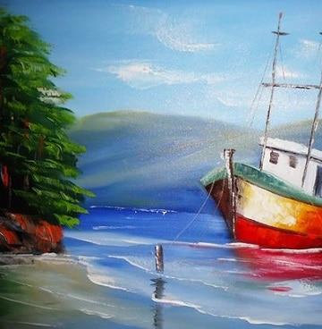 pinturas al oleo marinas con barcos