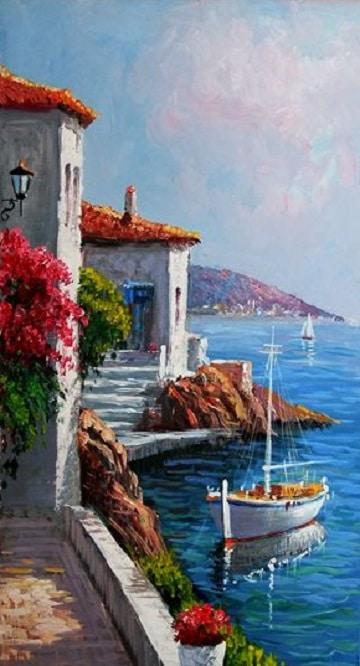 pinturas al oleo marinas con casas