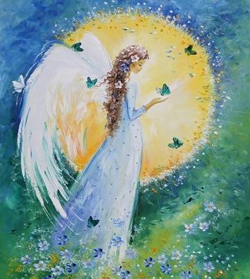 pinturas de angeles al oleo de la naturaleza