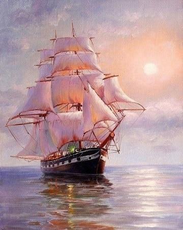 pinturas de barcos en el mar diseños