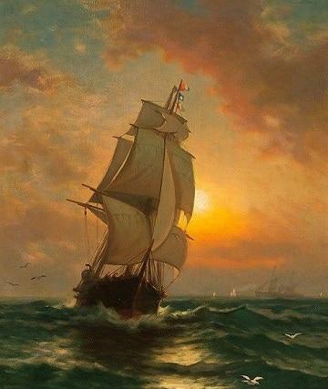 pinturas de barcos en el mar en el atardecer