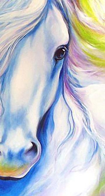 pinturas de caballos al oleo blanco