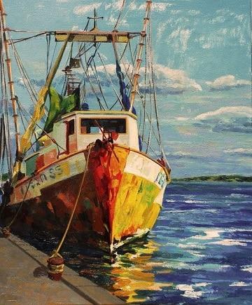 pinturas de marinas al oleo puertos