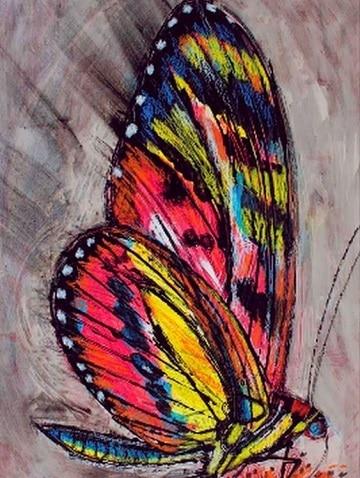 pinturas de mariposas al oleo colorida