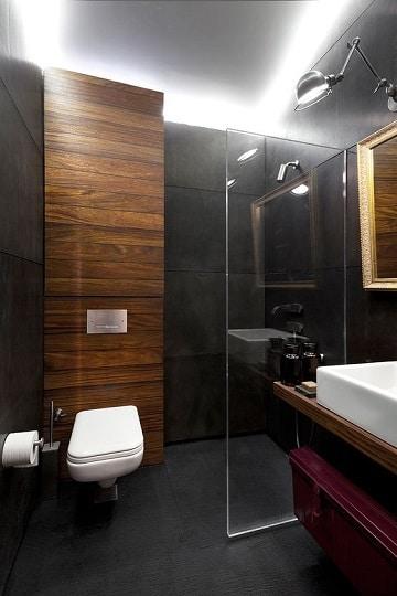 baños con ceramica negra pequeños