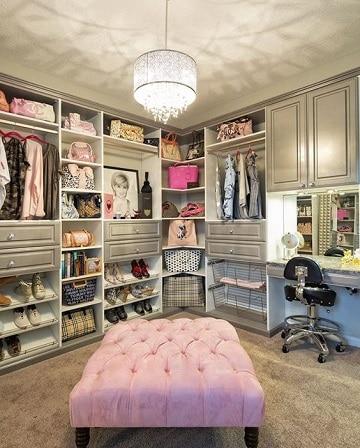 closets modernos para mujeres rosa