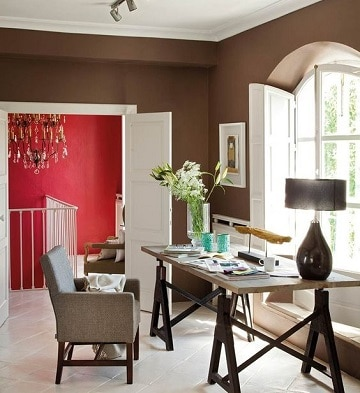 Uso decorativo de colores marrones para paredes como for Combinacion de colores para paredes