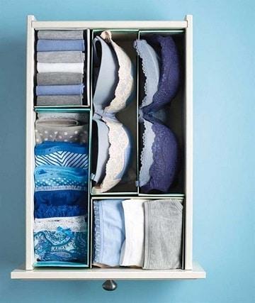 como organizar la ropa interior en cajon