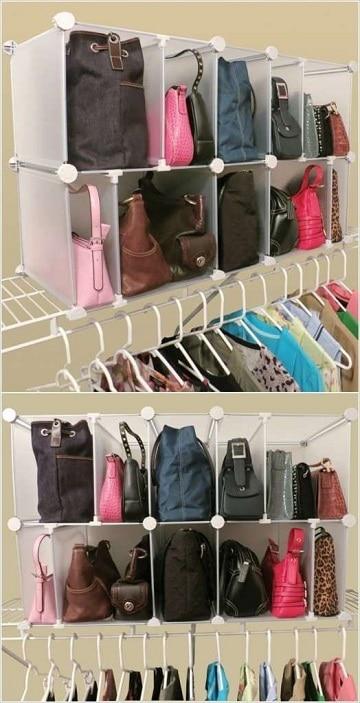 como organizar los bolsos dentro de closet