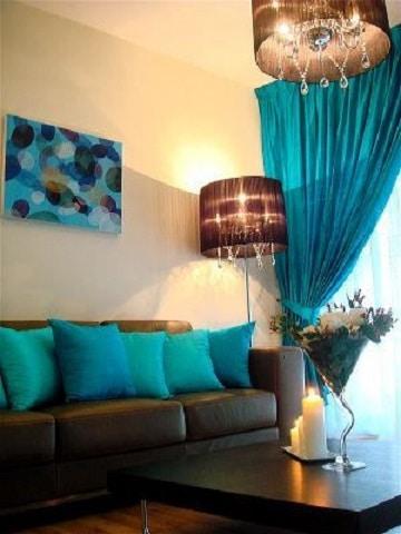 cortinas azul turquesa sencilla