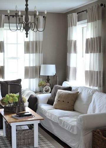 cortinas blancas y grises para la sala