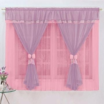cortinas para habitacion de niña rosa y morado