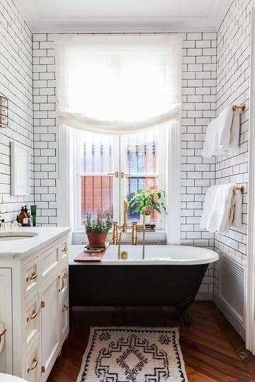 cortinas para ventanas de baño de tela