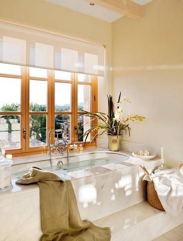 cortinas para ventanas de baño sencillas