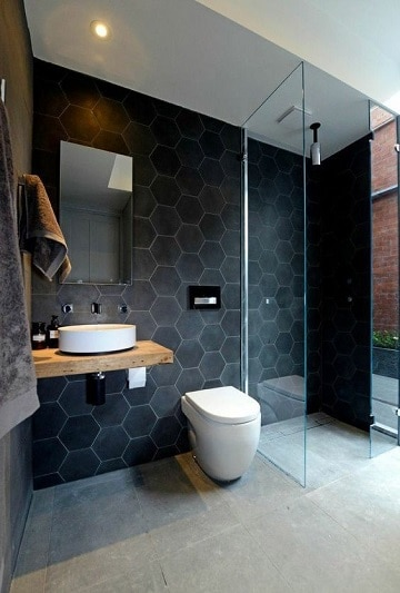 cuartos de color negro baño