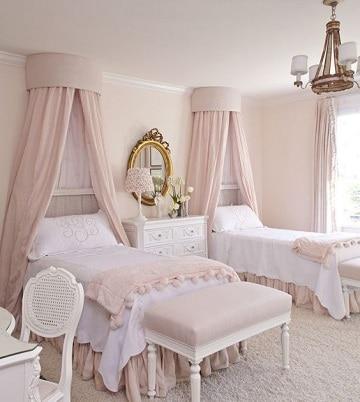 cuartos de color rosa para gemelas