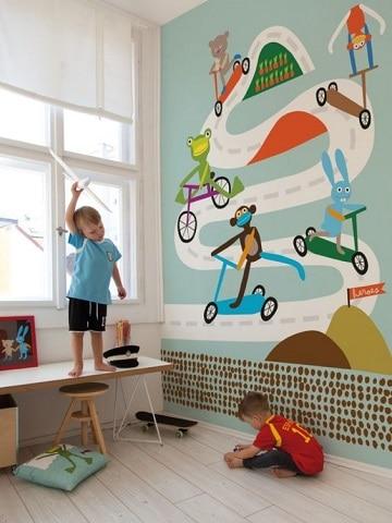 cuartos pintados para niños carros