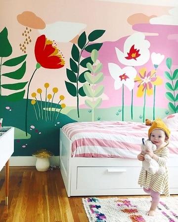 cuartos pintados para niños flores