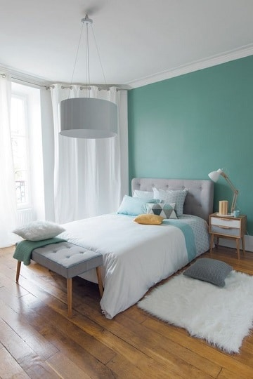 dormitorios color verde agua para parejas