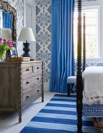 habitaciones azules y blancas con estampado