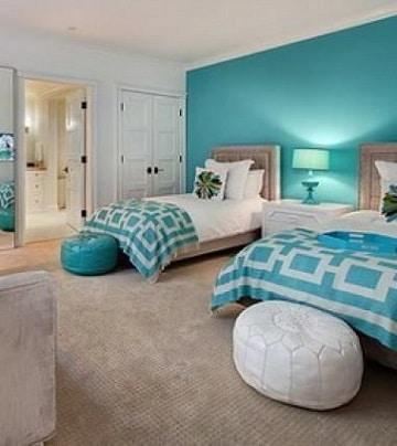 habitaciones azules y blancas dobles