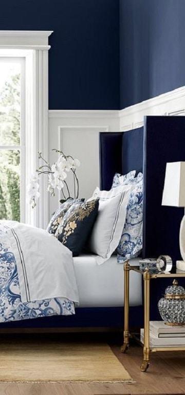habitaciones azules y blancas oscuro