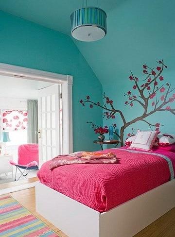 habitaciones color turquesa para niña