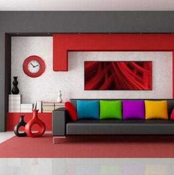 habitaciones en rojo y gris modernas