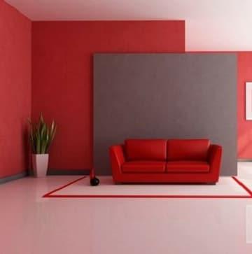 habitaciones en rojo y gris sala