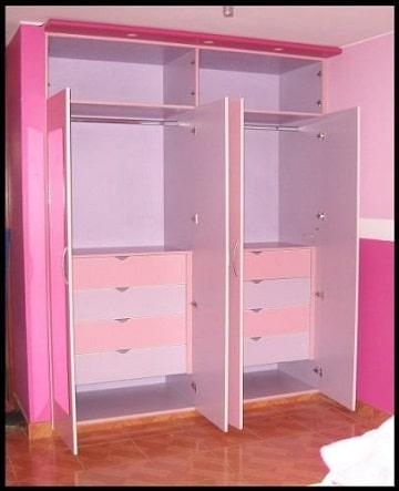 modelos de closets de madera para niña