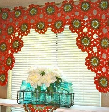 modelos de cortinas de cocina crochet