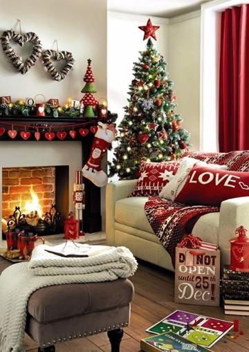salas decoradas de navidad sencillas