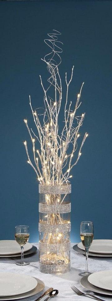 adornos con luces de navidad blancas